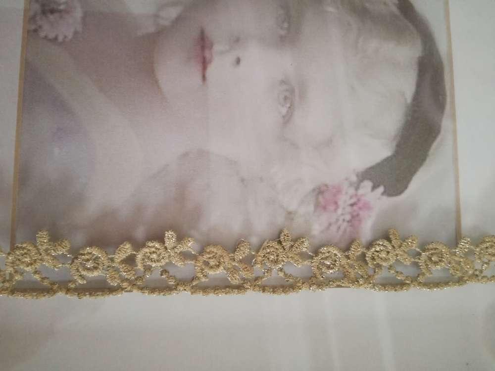TRAUMHAFTE GOLDENE BORTE ROSEN VINTAGE SHABBY CHIC 1,7 CM