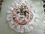 TRAUMHAFTE SPITZE WEISS ROSA ROSEN VINTAGE SHABBY CHIC 5,5 CM